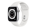 Apple Watch Series 6 (GPS + Cellular) - silver aluminium - smart watch with sport band - white - 32 GB - not specified
