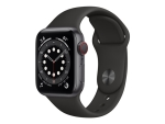 Apple Watch Series 6 (GPS + Cellular) - space grey aluminium - smart watch with sport band - black - 32 GB - not specified