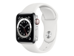 Apple Watch Series 6 (GPS + Cellular) - silver stainless steel - smart watch with sport band - white - 32 GB - not specified