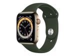 Apple Watch Series 6 (GPS + Cellular) - gold stainless steel - smart watch with sport band - cyprus green - 32 GB - not specified
