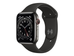 Apple Watch Series 6 (GPS + Cellular) - graphite stainless steel - smart watch with sport band - black - 32 GB - not specified