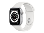Apple Watch Series 6 (GPS) - silver aluminium - smart watch with sport band - white - 32 GB