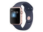 Apple Watch Series 1 - rose gold aluminium - smart watch with sport band - midnight blue