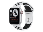 Apple Watch Nike SE (GPS + Cellular) - silver aluminium - smart watch with Nike sport band - pure platinum/black - 32 GB - not specified