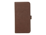 eSTUFF - Flip cover for mobile phone - genuine leather - brown - for Apple iPhone X