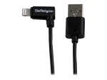 StarTech.com 1m 3ft Angled Black Apple 8-pin Lightning to USB Cable for iPhone iPod iPad - Angled Lightning Cable - Charge & Sync - 1 m (USBLT1MBR) - Lightning cable - 1 m