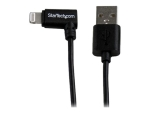 StarTech.com 2m 6ft Angled Black Apple 8-pin Lightning to USB Cable for iPhone iPod iPad - Angled Lightning Cable - Charge & Sync - 2 m (USBLT2MBR) - Lightning cable - 2 m